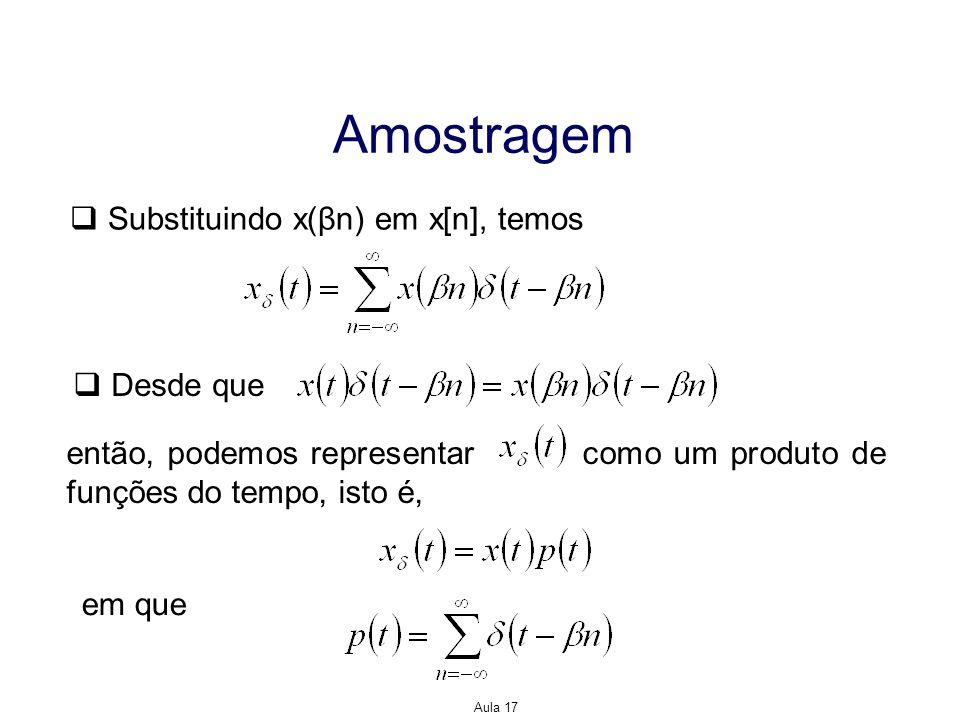 Amostragem Substituindo x(βn) em x[n], temos Desde que
